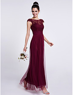Ankle-length Lace / Tulle Bridesmaid Dress Sheath / Column Bateau with Lace