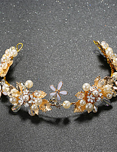 Dame / Blomsterpige Perle Lyserød / Rhinsten / Legering Medaljon-Bryllup / Speciel Lejlighed Diademer 1 Stykke Klar / Hvid Rund 36