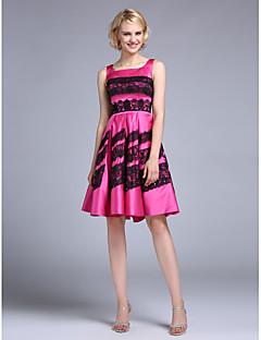 TS couture® 칵테일 레이스와 온라인 광장 무릎 길이 새틴 드레스