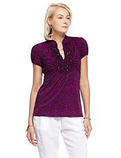 heartsoul kvinders gå ud simpel sommer t-shirt, solid v hals kortærmet lilla polyester / spandex tynd