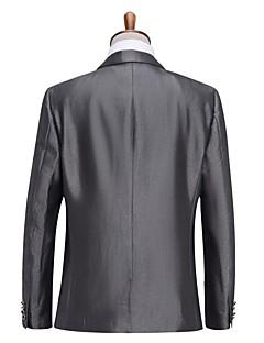 Odijela Standardni kroj Stepenasti Droit 1 bouton Viskoza Jednobojni 2 dijela Siva Ravni s preklopom Ravan prednji dio hlača SivaRavan