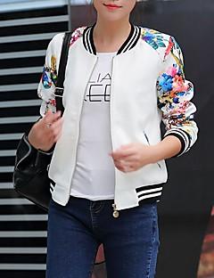 Damen Druck Einfach Lässig/Alltäglich Jacke,Rundhalsausschnitt Frühling Langarm Weiß / Schwarz Baumwolle Mittel