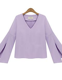 Polyester Hvit / Sort / Lilla Medium Langermet,V-hals T-skjorte Ensfarget Vår Sexy / Enkel Fritid/hverdag Kvinner