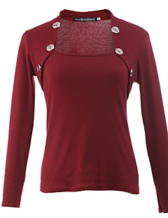 Women's Casual/Daily Simple Fall T-shirt,Solid Square Neck Long Sleeve Red / Black / Gray / Purple Cotton Thin