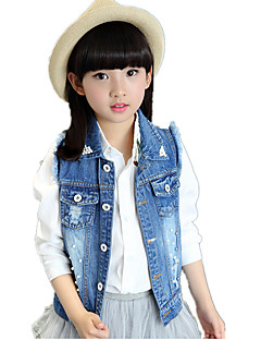 Girl's Casual/Daily Solid Old-washed Beading Pearls Jeans / Vest
