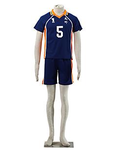 Inspiriert von Haikyuu Takeda Iitetsu Anime Cosplay Kostüme Cosplay Kostüme Einfarbig Blau / Orange Kurze ÄrmelT-Shirt-Ärmel / Kurze