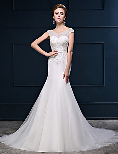 Trumpet / Mermaid Wedding Dress Court Train Scoop Tulle with Beading / Button / Sash / Ribbon