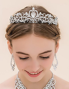 Women's Rhinestone / Alloy Headpiece-Wedding Tiaras 1 Piece Silver Round