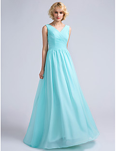 Floor-length Chiffon Bridesmaid Dress A-line V-neck with Criss Cross