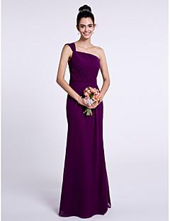2017 לנטינג bride® שמלת השושבינה שיפון באורך הרצפה - חצוצרה / mermaid כתף אחת עם
