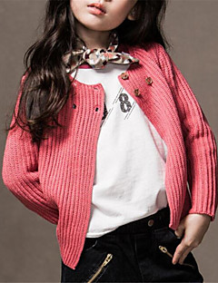 Girl's Casual/Daily Solid Sweater & Cardigan,Cotton Spring / Fall Green / Red / White / Yellow / Gray