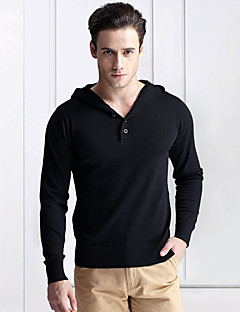 Men's Solid Casual / Work Pullover,Cotton Long Sleeve Black