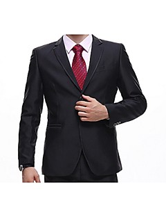 Suits Standard Fit Notch Single Breasted Two-buttons Cotton Solid 2 Pieces Black Straight Piped None (Flat Front) Black None (Flat Front)