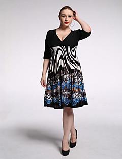 Bayanlar Tatil / Büyük Beden Boho Çan Elbise Desen,½ Kol Uzunluğu V Yaka Diz-boyu Siyah Polyester / Splandeks Yaz