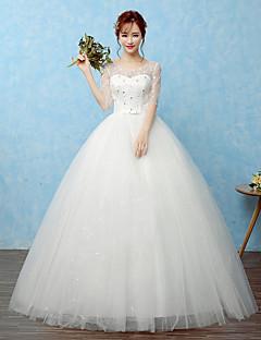 볼 드레스 웨딩 드레스 바닥 길이 스쿱 레이스 / 새틴 / 튤 와 비즈 / 리본 / 레이스