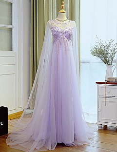Formal Evening Dress A-line Jewel Sweep / Brush Train Tulle with Appliques / Beading