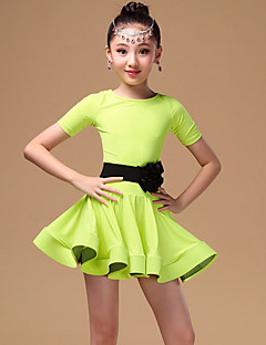 Latin Dance Kids' Dancewear Dresses Children's Performance Chinlon  3 Pieces Black / Green / Orange Short Sleeve Belt