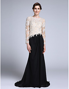 Lanting Bride Trumpet / Mermaid Mother of the Bride Dress Sweep / Brush Train Long Sleeve Chiffon with Appliques