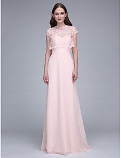 Lanting Bride® Sweep / Brush Train Chiffon Bridesmaid Dress Sheath / Column Sweetheart with Lace