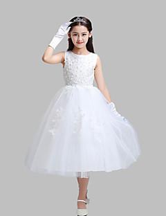 גזרת A באורך הקרסול שמלה לנערת הפרחים - כותנה / תחרה / סאטן / טול ללא שרוולים עם תכשיטים עם