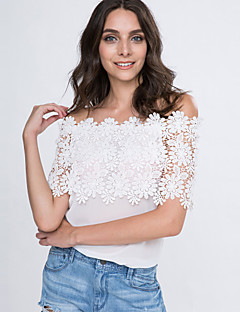 Women's Lace Cutout Off Shoulder Patchwork T-shirt