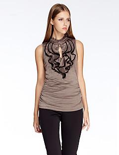 Uden ærmer Rund hals Tynd Rød Brun Ensfarvet Sommer Simpel I-byen-tøj T-shirt,Polyester Spandex