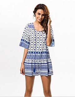 In Farbe Damen Rundhalsausschnitt 1/2 Ärmel Knielänge Kleid-533763025803