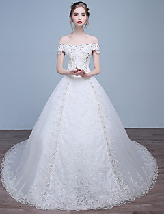 Ball Gown Wedding Dress Chapel Train Off-the-shoulder Lace / Satin / Tulle with Beading / Lace / Sequin
