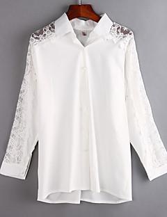 여성의 솔리드 셔츠 카라 긴 소매 셔츠,심플 캐쥬얼/데일리 화이트 면 / 폴리에스테르 여름 얇음