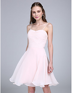 Lanting Bride®Knee-length Chiffon Bridesmaid Dress A-line Spaghetti Straps with Ruching