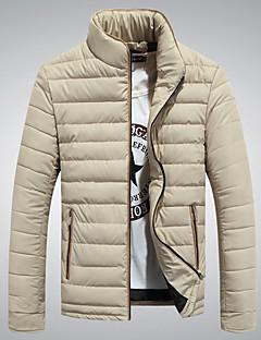 Pánské Polyester Jednobarevné Obyčejný S vycpávkou Kabát Dlouhý rukáv