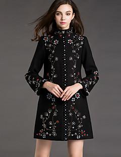 Damen Solide Anspruchsvoll Ausgehen Mantel,Winter Rollkragen Langarm Schwarz Undurchsichtig Kunstseide