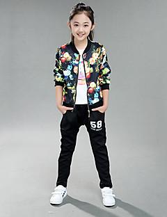 Girl's Cotton Spring/Autumn Flowers Pattern Coat Jacket Pants Two-piece Set