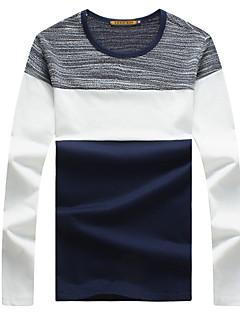 Men's Patchwork Casual / Sport / Plus Sizes T-Shirt,Cotton Long Sleeve-Blue / White / Gray