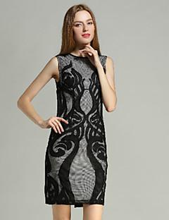 klimeda kadınların gündelik / günlük seksi vardiya elbise, diz kolsuz polyester yaz yukarıdaki yuvarlak boyun işlemeli