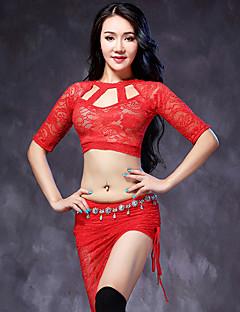 ריקוד בטן תלבושות בגדי ריקוד נשים ביצועים תחרה תחרה 2 חלקים חצי שרוול טבעי חצאית עליון M:40-55  L:41-56