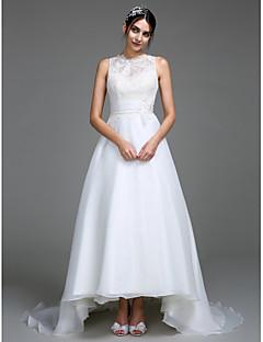 Lanting Bride® A-line Wedding Dress Court Train Jewel Organza / Satin with Appliques / Button / Ruche