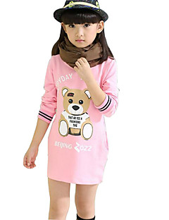 Girl's Casual/Daily Print Dress / Tee,Rayon Spring / Fall Black / Pink / Red / White