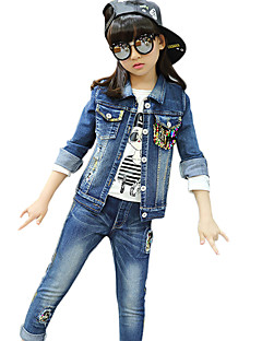 Girl's Cotton Spring/Autumn Casual Patchwork Paillette Cowboy Jacket Denim Coat And Jeans Pants Two-piece Set