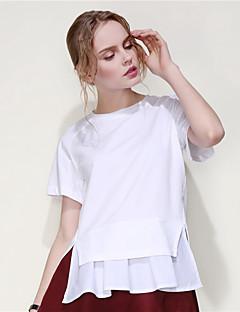 ARNE® Damen Rundhalsausschnitt Kurze Ärmel T-Shirt Weiß-B015