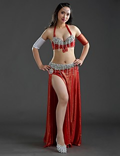 Belly Dance Outfits Women's Performance Polyester Sequins / Split Front / Tassel(s) 4 Pieces