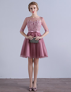 Knee-length Tulle Bridesmaid Dress A-line Jewel with Appliques / Bow(s)