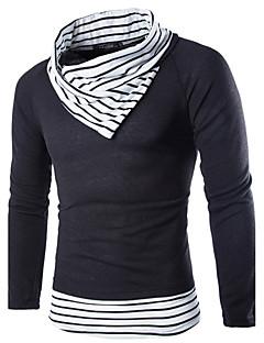Normal Pullover Fritid/hverdag Enkel Herre,Fargeblokk Hvit / Beige Turtleneck Langermet Ull Høst / Vinter Medium Mikroelastisk