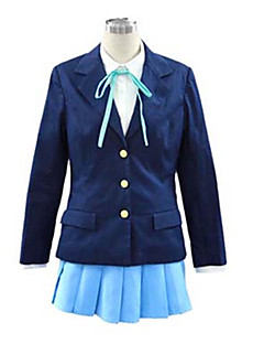 Inspired by K-ON Hirasawa Yui Anime Cosplay Costumes Cosplay Suits / School Uniforms Solid Blue Long Sleeve Coat / Shirt / Skirt / Cravat