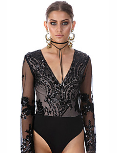 Women's Patchwork Sequins Mesh Slim Jumpsuits,Sexy V Neck Long Sleeve