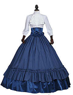 One-Piece Gothic Lolita Steampunk®/Civil War Victorian Cosplay Lolita Dress White/Blue Solid Long Sleeve Dress Women Southern Belle Halloween Costume