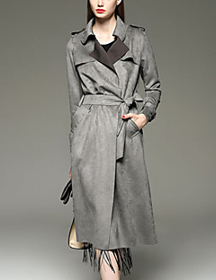 Women's Slim Thin Elegent Suede Long Trench Coat,Solid Peaked Lapel Long Sleeve Fall Black / Gray / Yellow Suede Leather