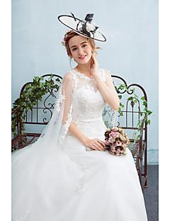 A-line Wedding Dress Watteau Train Jewel Tulle with Sash / Ribbon