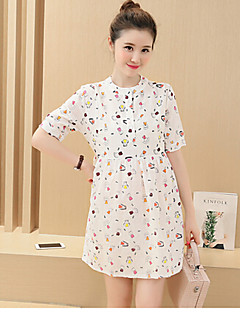 Maternity Casual/Daily Simple Loose Dress,Animal Print Round Neck Above Knee Short Sleeve Multi-color Polyester Summer