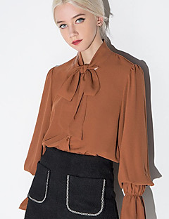Women's Casual/Daily Street chic Spring Shirt,Solid Peter Pan Collar Long Sleeve Brown Polyester Opaque